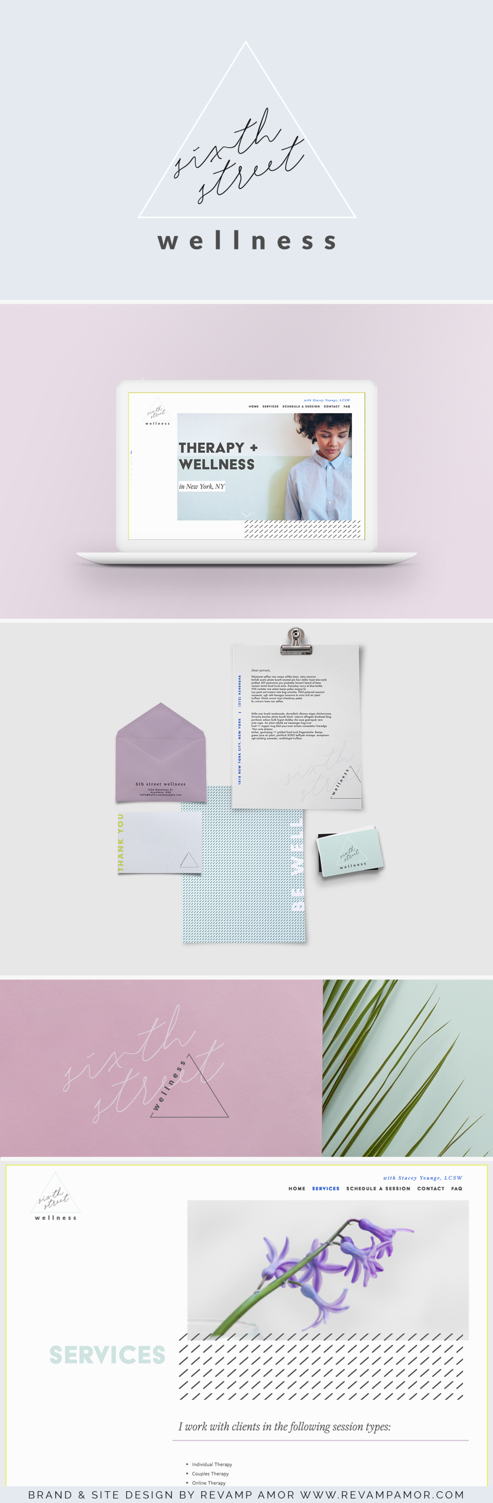 logo design, color palette and squarespace design