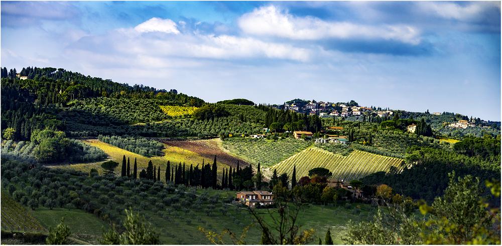 Оливки, виноградники, кипарисы на лоскутном одеяле Тосканской земли
