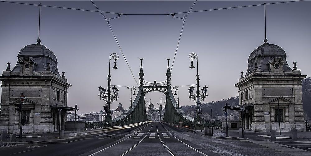 """Вершины четырех мачт моста """"Свободы""""украшают статуи турулов - птиц из венгерской мифологии."""