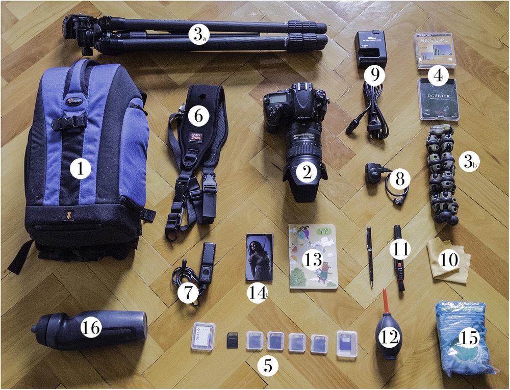 (1) Фоторюкзак, (2) Фото камера с объективом 28-300мм, (3а) Большой карбоновый штатив, (3b) маленький штатив, (4) Фильтры поляризационный и защитный (ND 1000 на объективе), (5) Карты памяти SD и СF, (6) Ремень speed carry, (7) Спусковой тросик, (8) GPS модуль, (9) Зарядное устройство, (10) Безворсовая салфетка, (11) Мягкая кисточка, (12) Фото клизма, (13) Блокнот с ручкой, (14) Визитные карточки, (15) Дождевик (16) Бутылка для воды