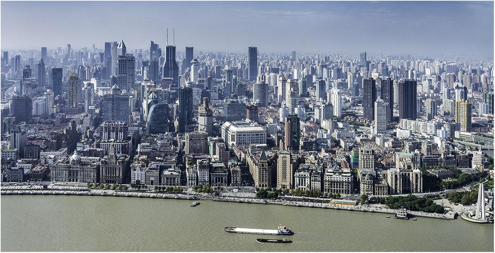 """Вид на Шанхай с высоты 267 метровбашни """"Восточная жемчужина"""""""