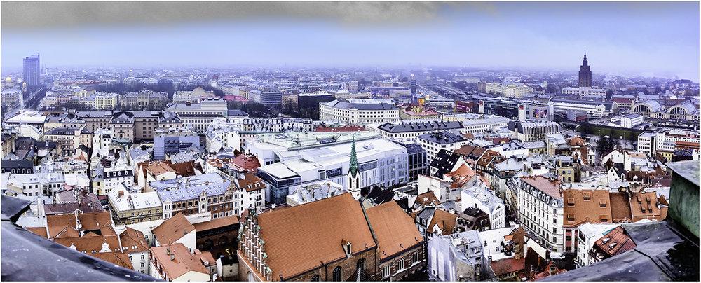 Крыши Риги с колокольни Собора Святого Петра