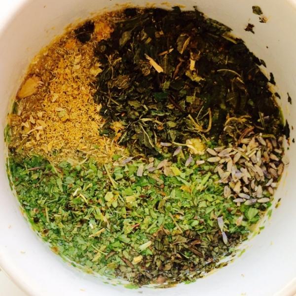 skullcap, chamomile, lavender, peppermint, nettles