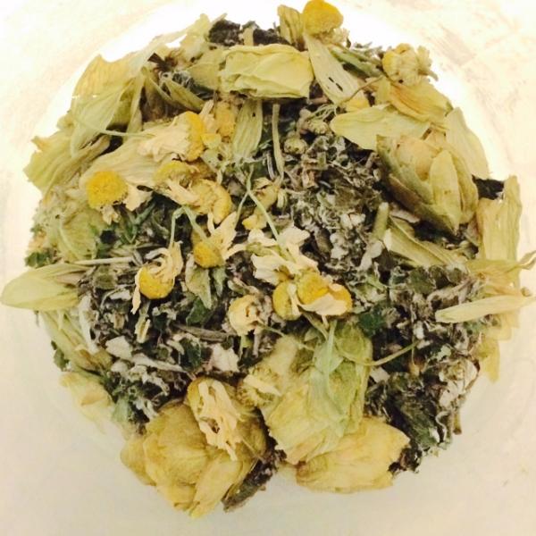chamomile, hops, dandelion, catnip, raspberry leaf