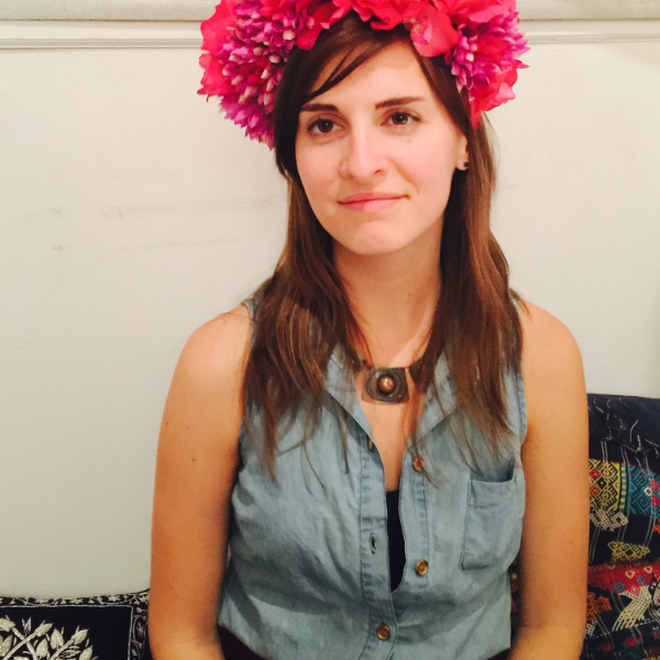 wearing a beautiful flower crown for the gathering, made by Outrageous Babes