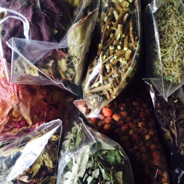 shiso, rugosa rose, thai holy basil, southernwood, spicebush, sumac berries, cinnamon basil