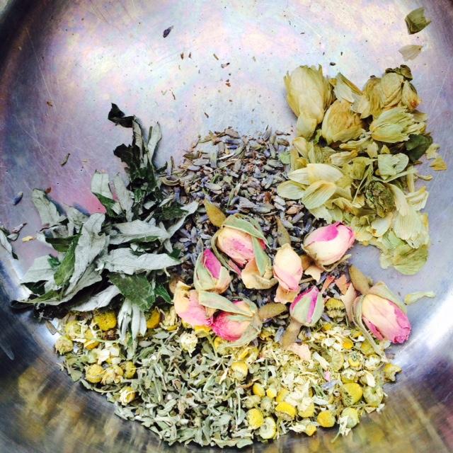 dream oil herbs-- hops, rose, mugwort, lavender, chamomile, damiana