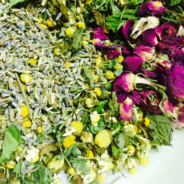 A simple tea I put together for this Friday's Vapid Vinyl event. Chamomile, rose, lavender, nettles, lemon balm.
