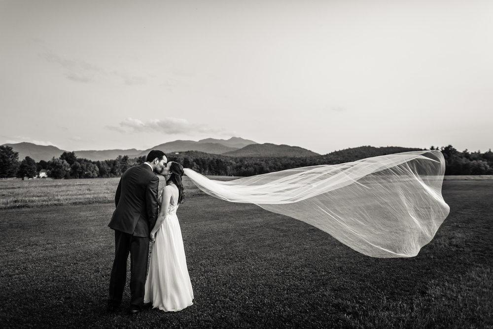 K & V strike a classic, elegant pose in front of Mt Mansfield  Image:  Jag Studios