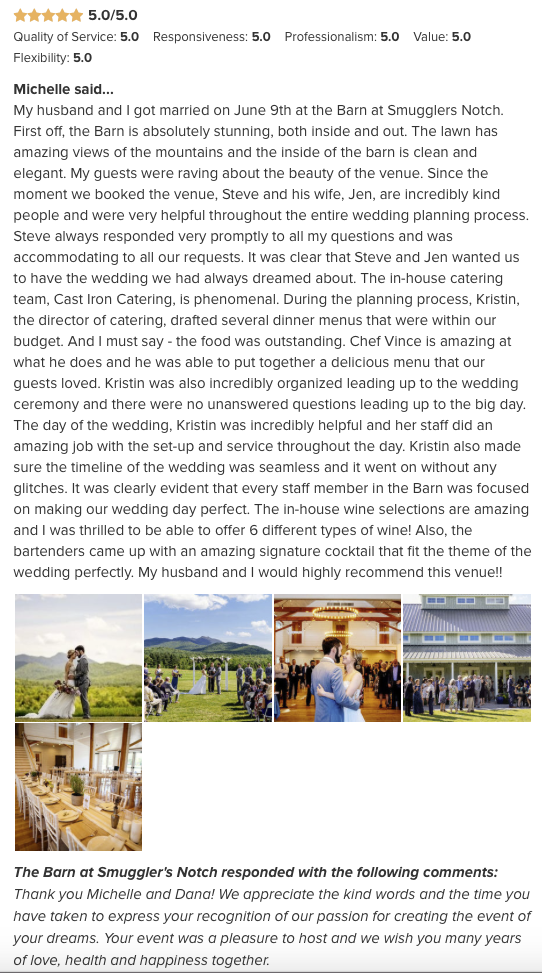 Summer 2018 Stowe Destination Wedding for Boston Bride.