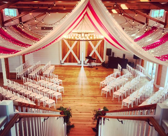 Drape Art Design in an elegant Stowe Wedding Venue called The Barn at Smugglers' Notch.