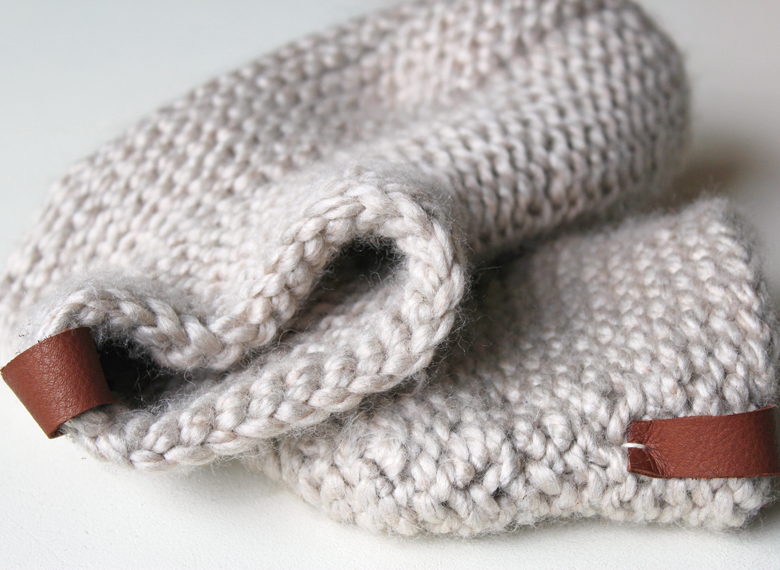 knit slippers with leather detail