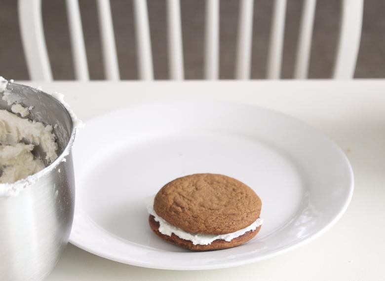 a lone cookie sandwich