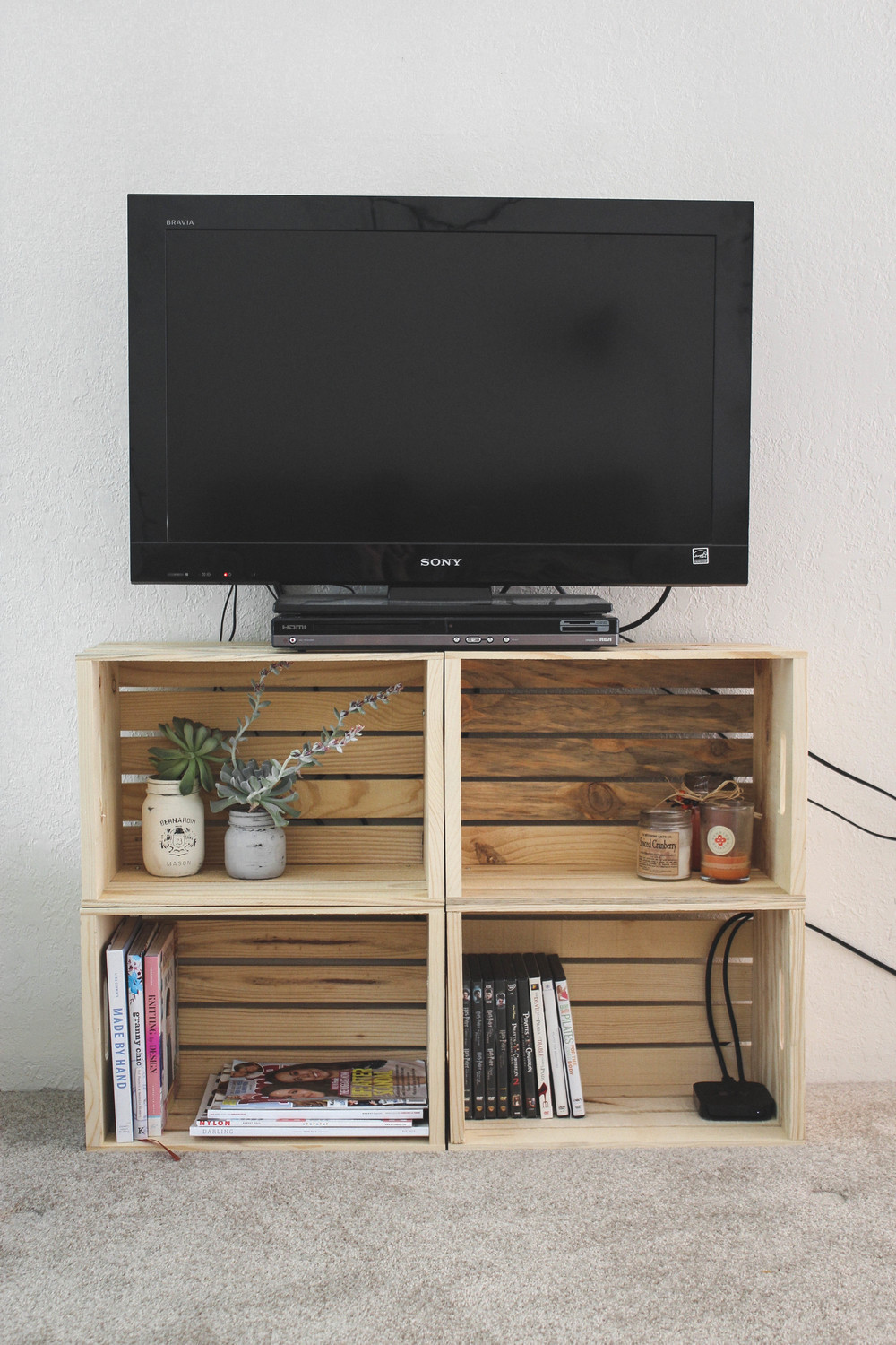 diy crate tv stand cashmere plaid. Black Bedroom Furniture Sets. Home Design Ideas