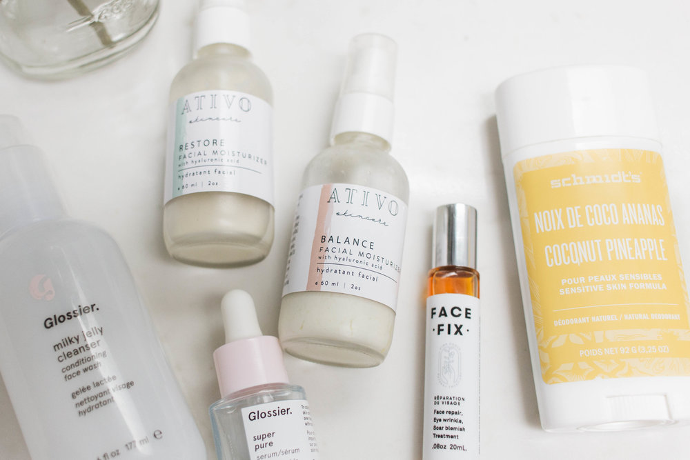 natural skin care featuring glossier ativo pink house and schmidts