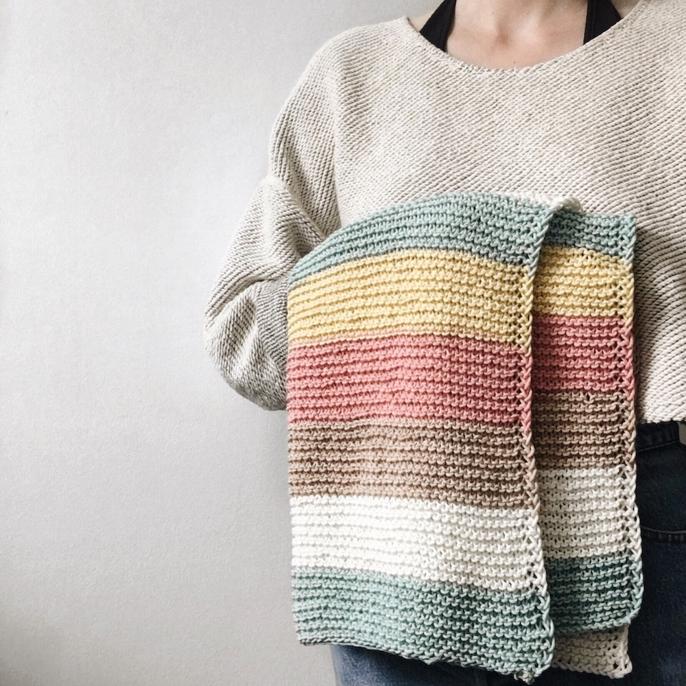 pastel coloured knitted baby blanket