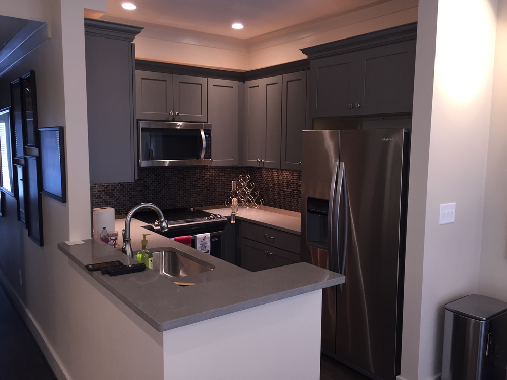 Updated kitchen with SS appliances, quartz tops, glass mosaic splashes, and special lighting.