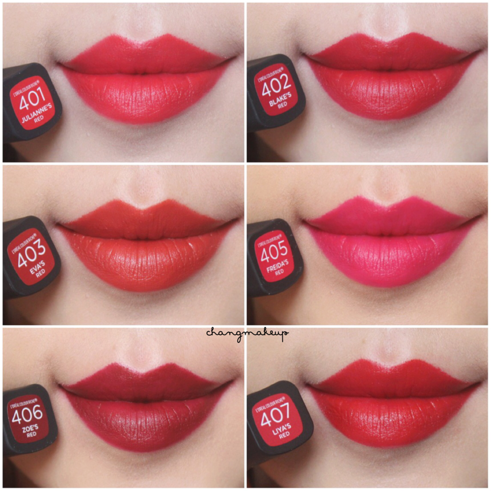 L'OREAL COLOUR RICHE COLLECTION REDS