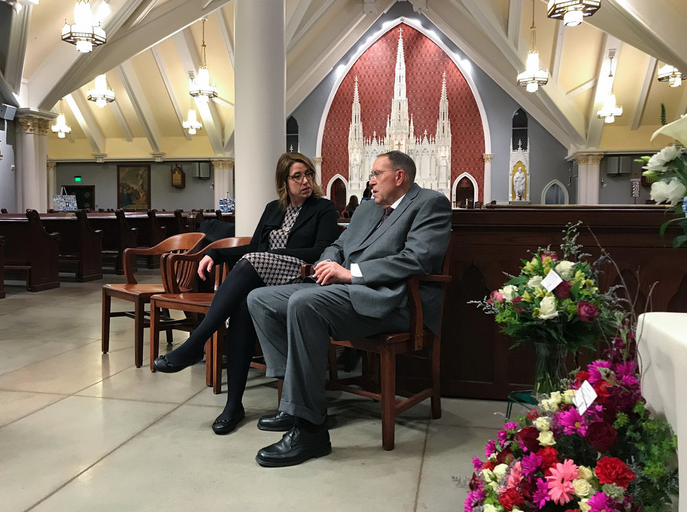 My wife Michele talks with her father Tom shortly before guests arrive to pay their respects to his wife Frannie, who had passed away on January 16th, 2018.