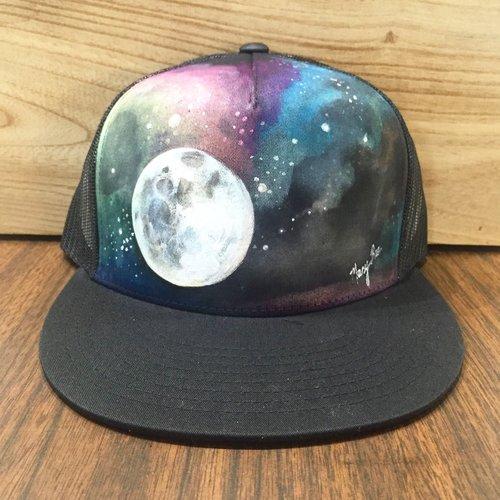 2871b302377 Galaxy Moon 2 Hand Painted on Black Snapback Trucker Hat — Mary Bea Art