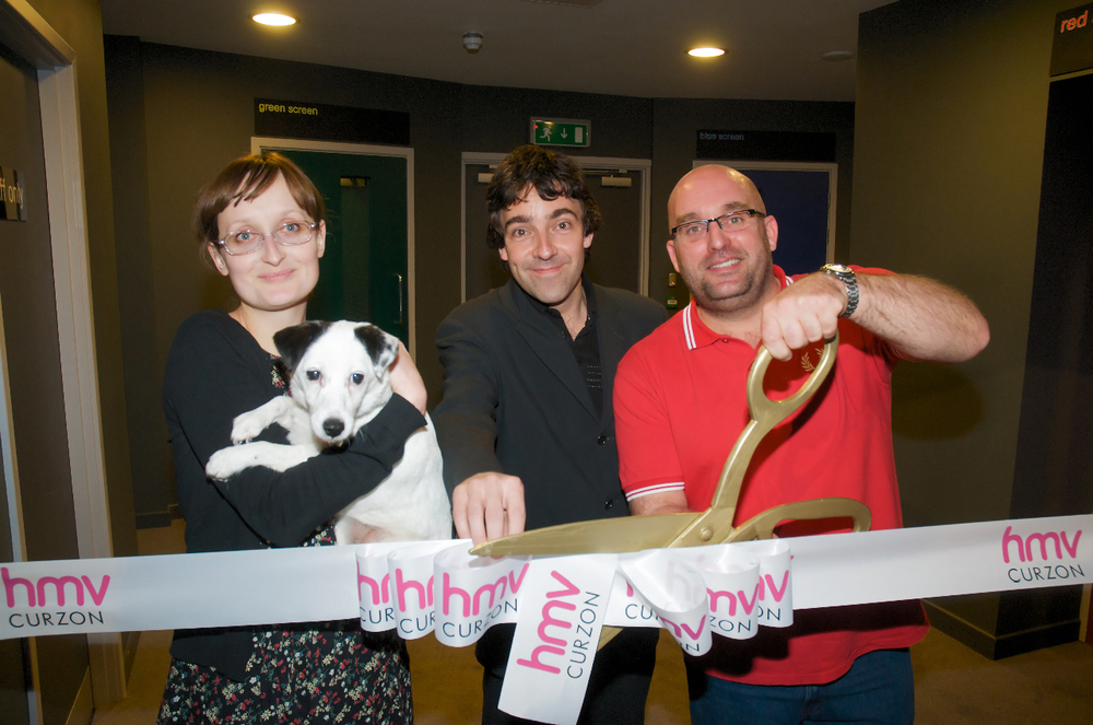 The hmv Curzon Wimbledon opening events included a visit from filmmaker Shane Meadows, writer and broadcaster Andrew Collins, and Nipper the hmv dog, pictured here with Cinema Manager Karolina Kus.