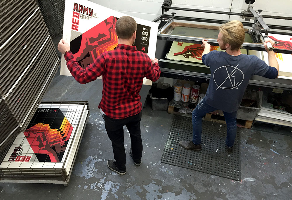 Red Army  poster during screen printing