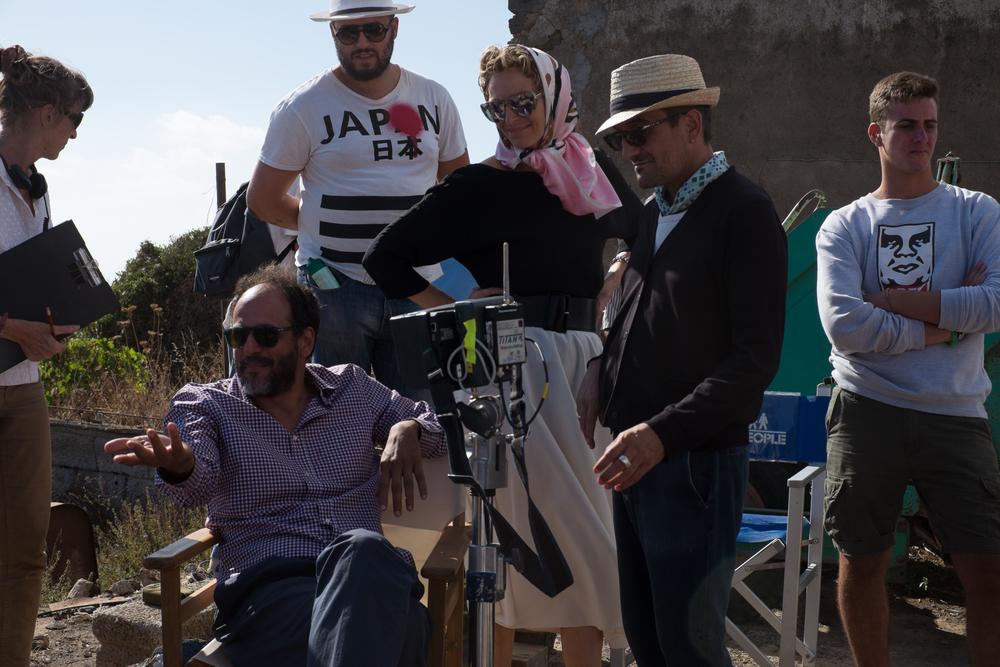 Luca Guadagnino and Tilda Swinton on the set of A Bigger Splash