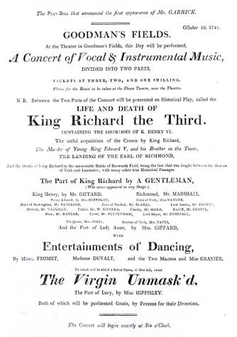 Playbill from Goodman's Field Theatre showing David Garrick'   debut as  Richard III