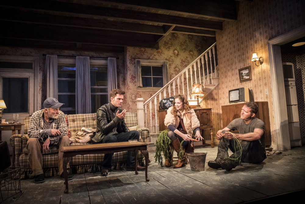 L-R: Ed Harris as Dodge, Jeremy Irvine as Vince, Charlotte Hope as Shelly and Barnaby Kay as Tilden