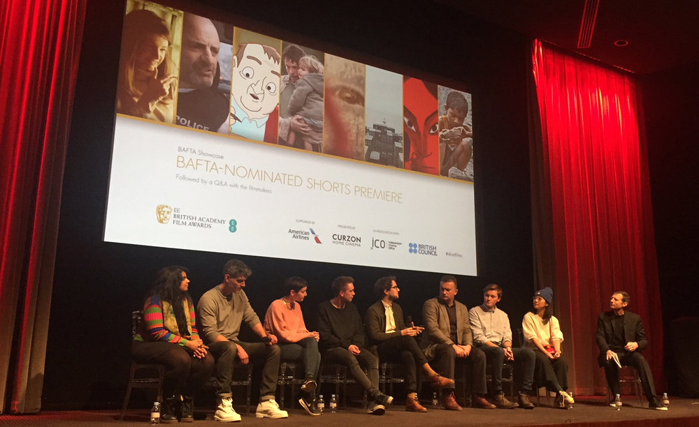 The BAFTA Shorts 2017 nominees at the premiere on 26 January (L-R Anushka Kishani Naanayakkara, Daniel Mulloy, Andrea Harkin, Jack Hannon, Richard John Seymour, Samir Mehanovic, Jac Clinch, Jennifer Zheng and interviewer Danny Leigh