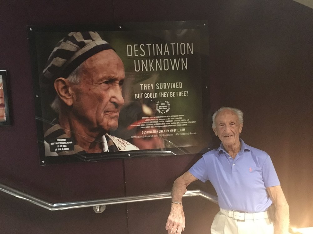 Ed Mosberg at Curzon Soho with the Destination Unknown poster.