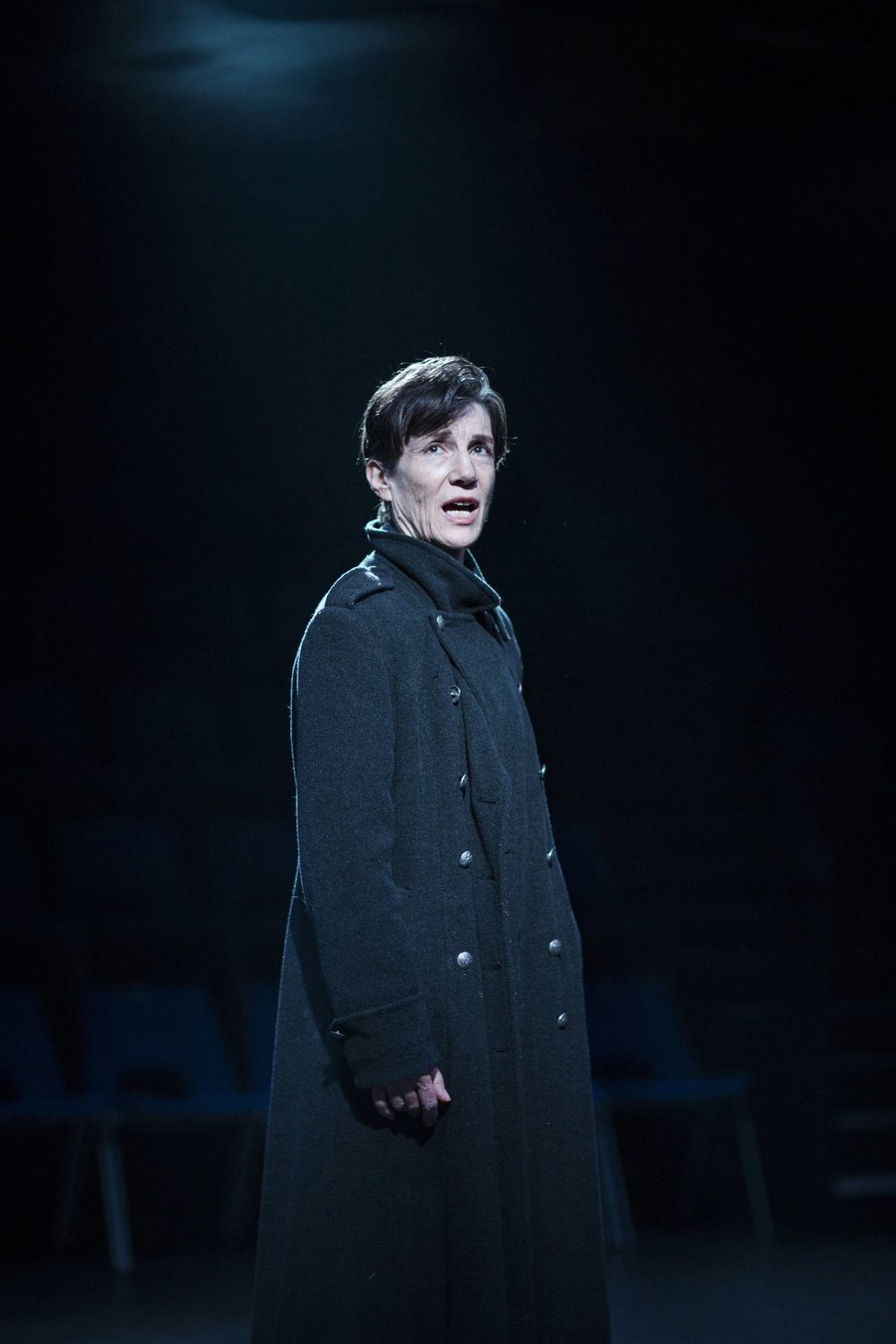 Harriet Walter as Brutus in the Donmar Warehouse's production of  Julius Caesar , 2012-15, directed by Phyllida Lloyd.