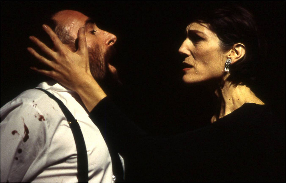 Harriet Walter as Lady Macbeth opposite Antony Sher in the RSC's production of  Macbeth , 1999. Directed for the stage and screen by Gregory Doran.
