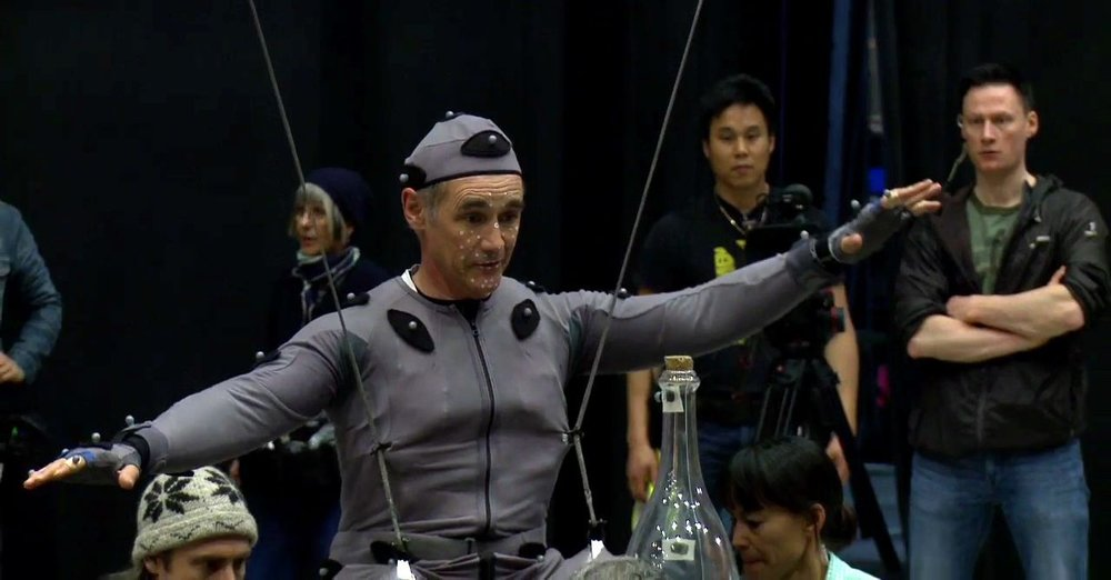 In motion capture suit on the set of  The BFG