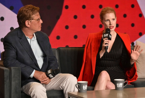 Jessica Chastain and Aaron Sorkin discuss  Molly's Game  in Toronto .