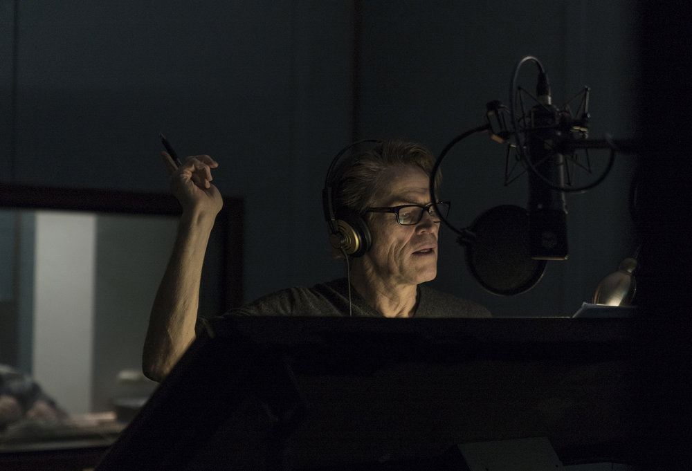 Willem Dafoe in the studio to record the narration for  Mountain  © Mark Rogers