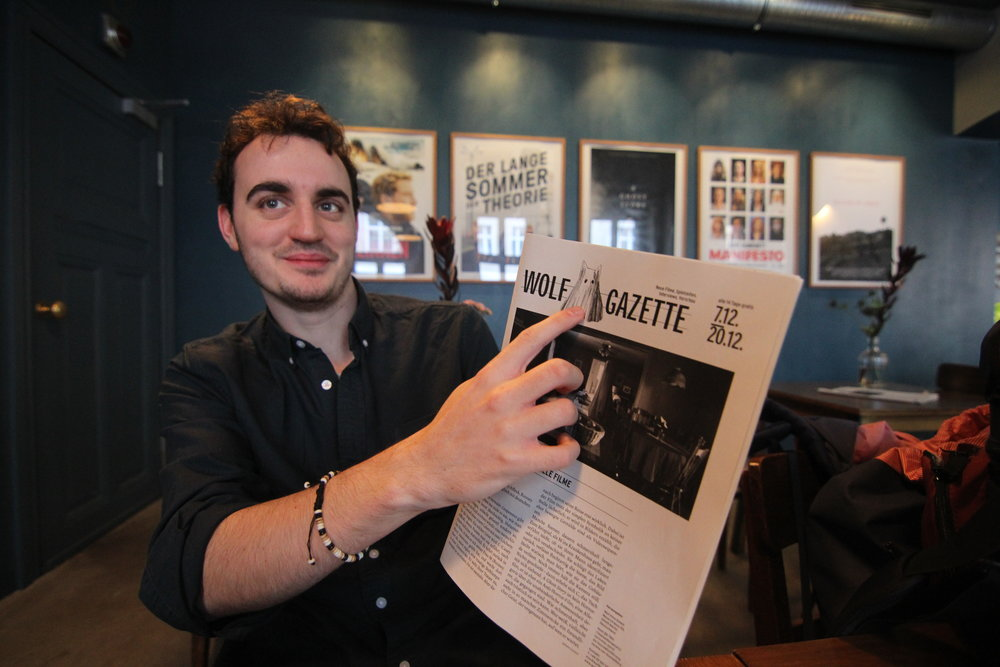 Sam enjoying the Wolf Gazette's alternate logo celebrating the release of  A Ghost Story