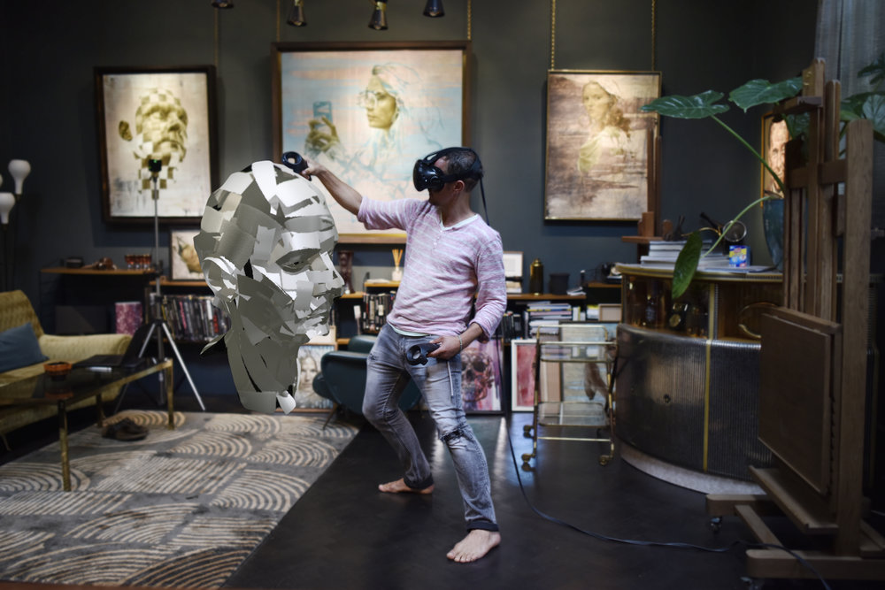 he making of Jonathan Yeo's virtual self-portrait, in legendary sculptor Eduoardo Paolozzi's former studio © Jonathan Yeo studio