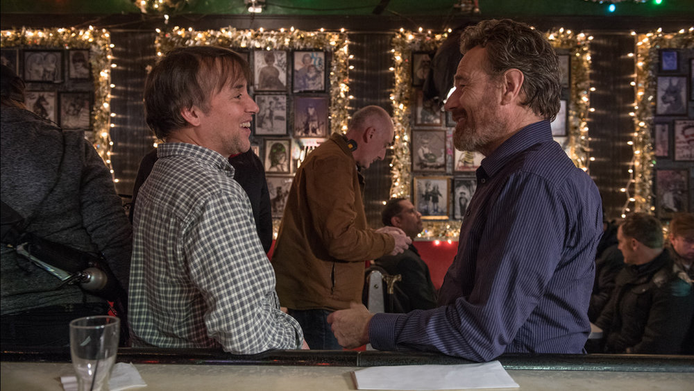 Richard Linklater and Bryan Cranston on the set of  Last Flag Flying