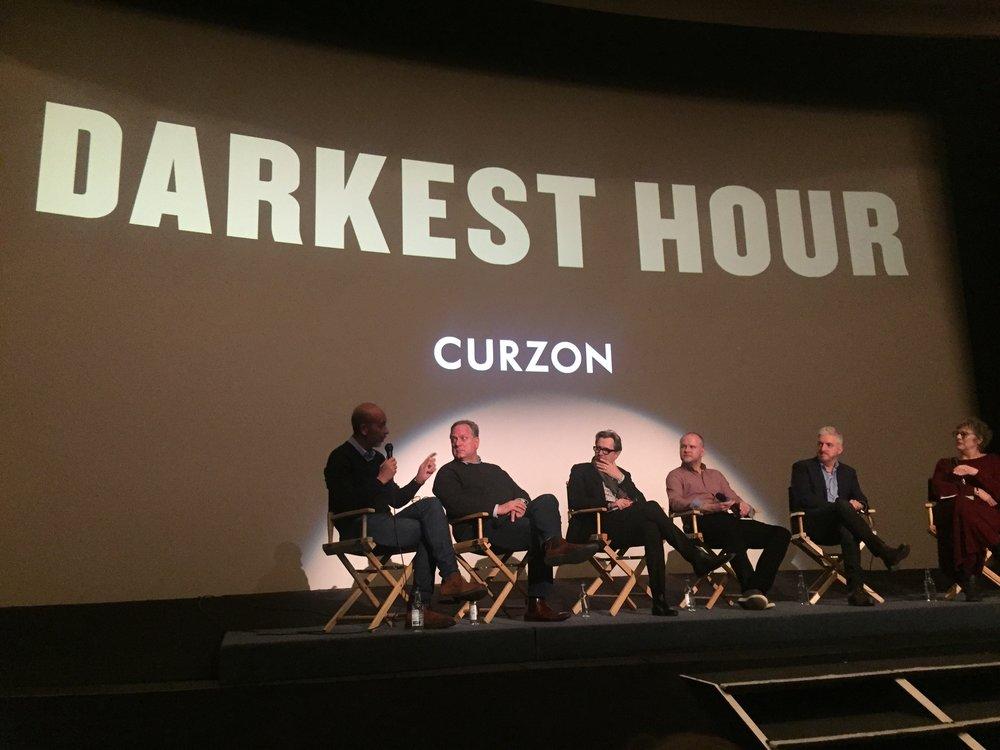 Eric Fellner, Douglas Urbanski, Gary Oldman, David Malinowski, Anthony McCarten and Angie Errigo.