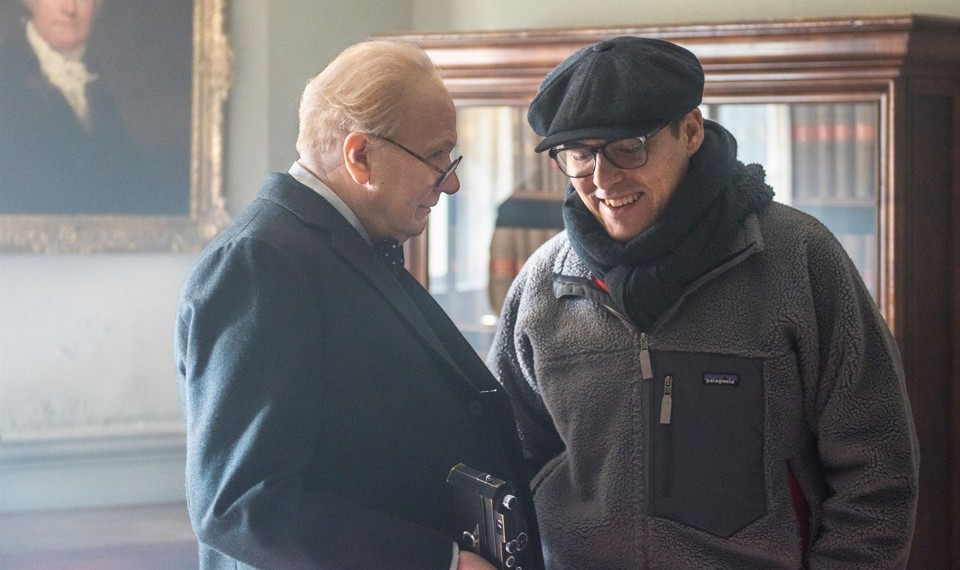 Gary Oldman and Joe Wright on the set of Darkest Hour