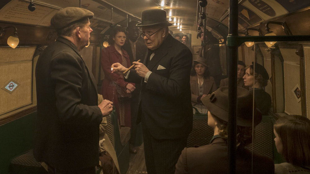 Winston Churchill rides the London underground in Darkest Hour