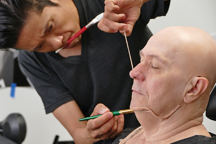 Kazuhiro Tsuji at work on Gary Oldman's prosthetics.