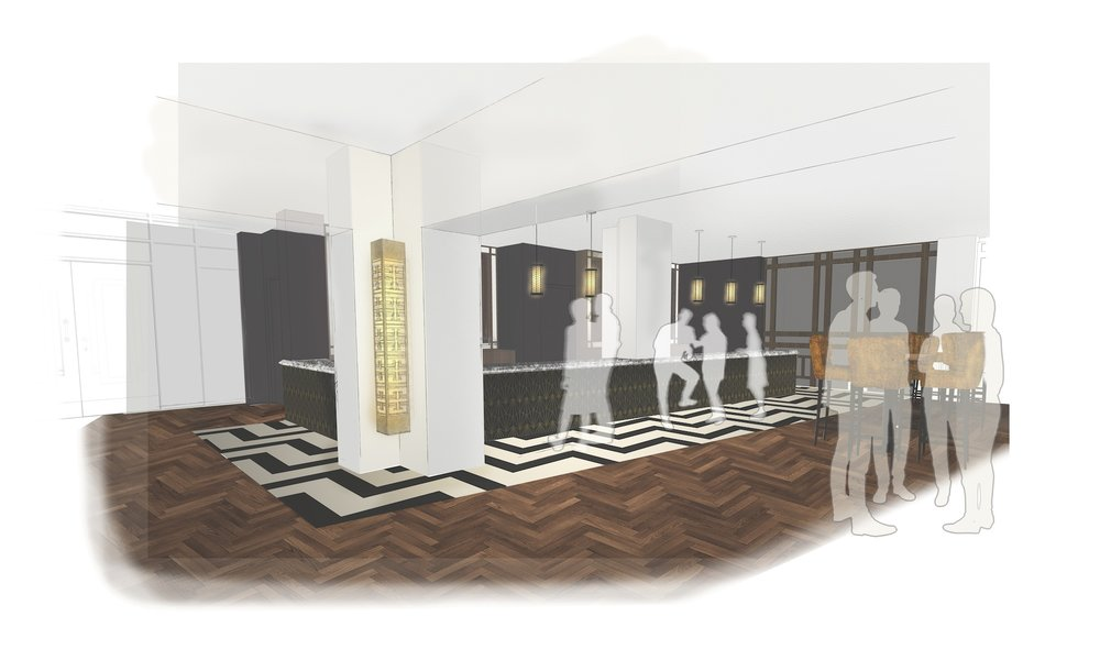 Sketch of new bar at Curzon Knutsford by iSpace Design