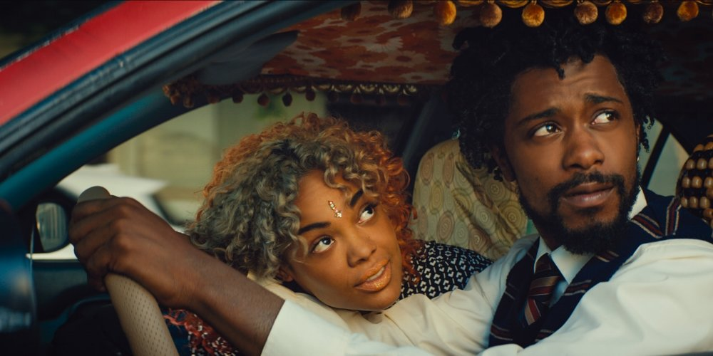 Tessa Thompson and Lakeith Stanfield in  Sorry To Bother You  (2018)