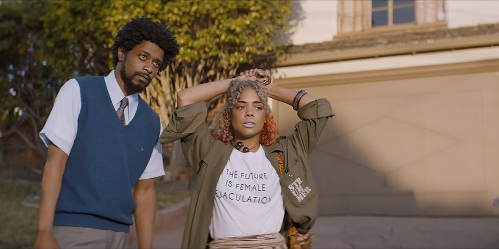 Lakeith Stanfield and Tessa Thompson in  Sorry To Bother You  (2018)