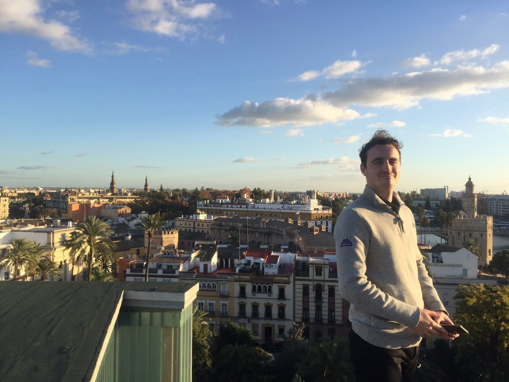 Podcast host Sam Howlett on the roof of Seville's Teatro de Maestranza, the home of the 31st European Film Awards