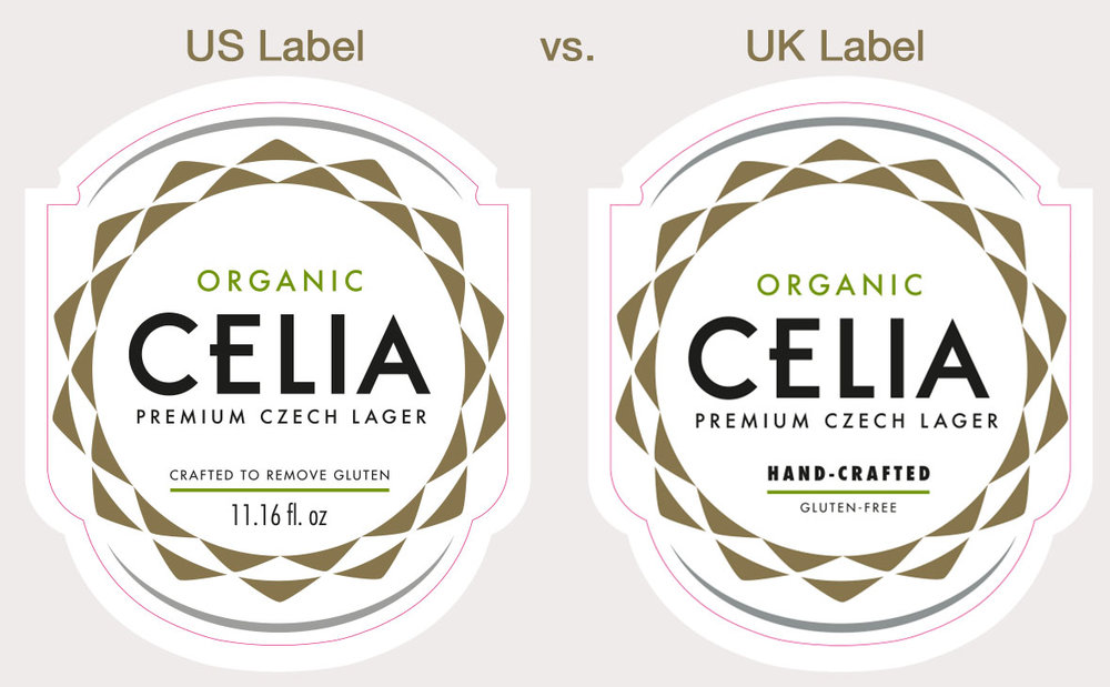 US front label compared to UK front label