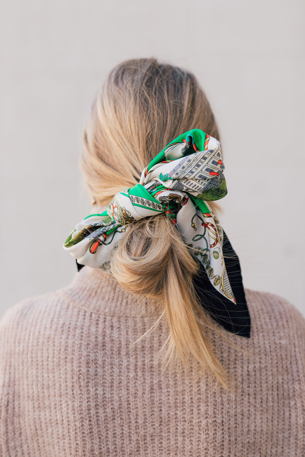 How to tie a chic Hermes scarf bow in your hair // silk scarf hair inspiration // The Girl Guide // Stephanie Trotta