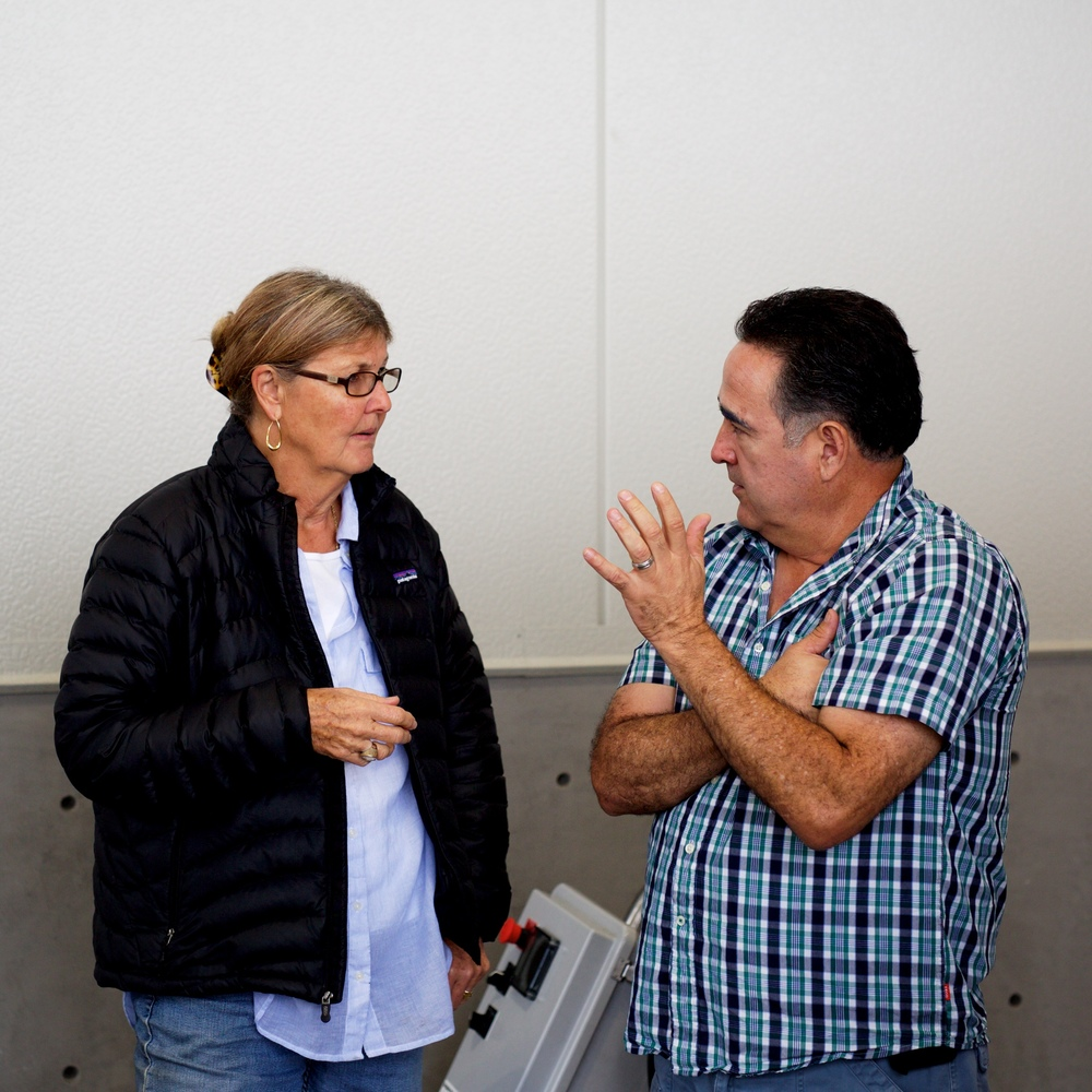 Jennifer Lamb with winemaker Mike Trujillo, discussing their next moves for this year's fruit.